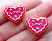 Kawaii Resin Cabochons / Fake Sugar Cookie Cabochon / Mini Heart Biscuit (2pcs / 21mm x 17mm / Strawberry Pink) Sweets Embellishment FCAB436