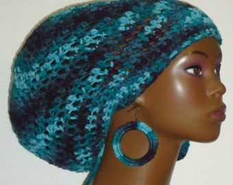 Large Crochet Tam with Drawstring and Earrings Navy Blue Teal Aqua by Razonda Lee Razondalee