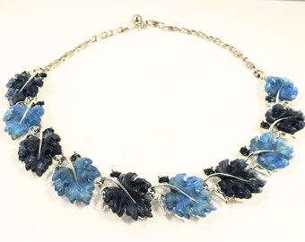 Blue Lisner Necklace, Vintage Jewelry, Modern Necklace, Rhinestone Choker, Rhinestone Necklace, Lisner Choker, Blue Lisner Lucite Leaves