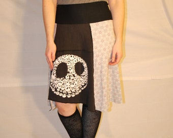 Recycled tee shirt skirt  with yoga pant style waistband size large L0111