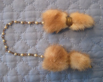 Vintage Mink fur pearl beaded sweater clips 1940s 1950s