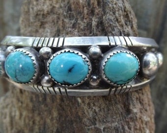 Old Pawn Sterling Silver Turquoise Cuff Bracelet