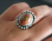 Mexican Fire Opal Sterling Silver Cocktail Ring... Size 8.25, Size 8.5... Fire And Light...