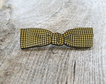 yellow houndstooth bow tie pin brooch