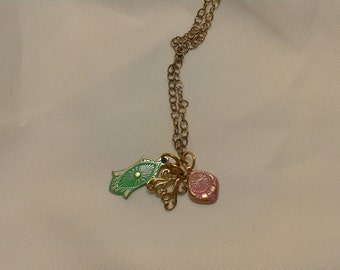 """18"""" Vintaj Natural Brass Necklace with Gold, Pink, and Green Charms"""