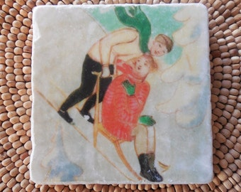 "Vintage Ski Marble Stone Coaster Set - ""Sweet Couple"" - Drink Tile - Ski Decor - Ski - Lodge - Alpine - Cabin"