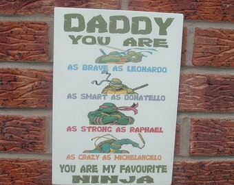 shabby chic fathers day daddy dad grandpa pops ninja turtle sign plaque daddy turtle plaque