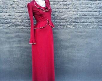 70s Luscious Maroon Wine Burgundy Ruffle Maxi Dress with Peplum small