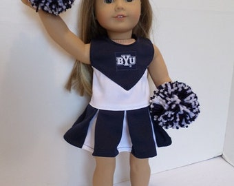 """Cheerleader BYU, fits American Girl 18""""Doll with Pompoms and Gym Shoes"""