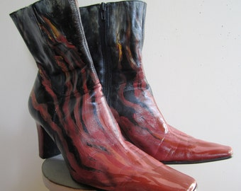 Flame Boots Womens Upcycled Hand Painted Fire Ankle High Heel Zipper Black - Size 8