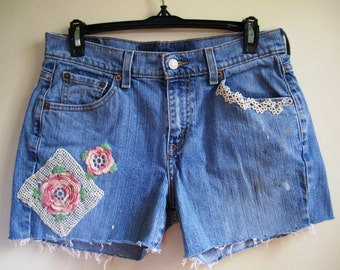 Cutoff Jean Shorts Upcycled Victorian Pink Crochet Lace Embellished Rocker Boho Denim - Size Small