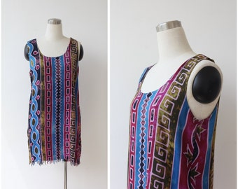 Boho Mini Dress 90s Tank dress Beach Tunic Ethnic Tribal Batik Hippie Festival Dress Fringe Grunge Sundress Cotton Dress Small Medium