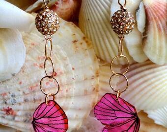Shimmering Pink Butterfly Wing Earrings