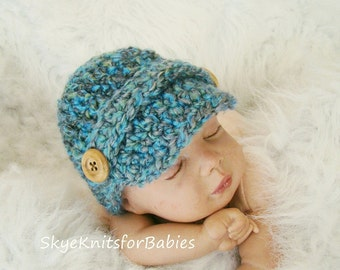 Crochet Newsboy Cap, Newborn Newsboy Cap, Baby Newsboy Hat, Baby Boy Hat, Baby Photo Prop, Any Color