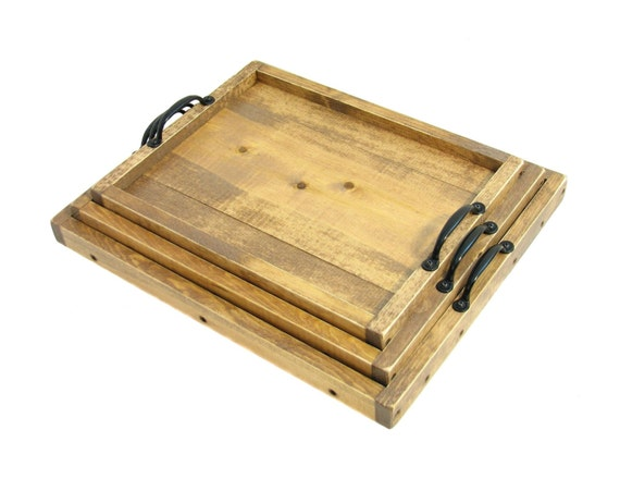 Nesting trays stackable ottoman trays wooden coffee table for Small stackable coffee tables