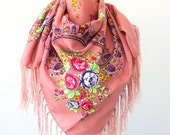Russian scarf Ukrainian shawl Russian shawl Ukrainian scarf floral scarf vintage rose pink scarf fall fashion trends christmas gift for her