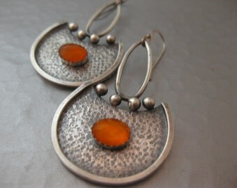 contemporary Sterling Silver Mexican Opal Earrings