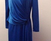 Sale Valentines 1970s/1980s Does 1920s, Long Sleeve Cocktail Dress, Polyester, Sequined Applica, Royal Blue, By Young Gare', Size Large,  #5