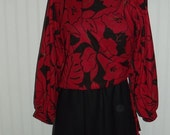 Sale Valentines 1970s Polyester  Dress, 2 piece look, Knee Length, Size Small Medium,   #41621