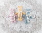 Yellow Newborn Photo Prop Bunny, Knit Newborn Lovie, Handknit Yellow Baby Stuffie, Newborn Girl Photography Prop, Knit Yellow Stuffed Animal