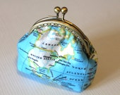 World map printed coin purse with antique bronze frame