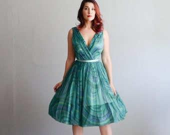 35% OFF - 60s Chiffon Dress - Vintage 1960s Party Dress - Melt with You Dress