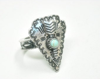 Arrowhead Ring, Stretch Arrowhead Ring, Arrowhead Jewelry, Southwest, Native, Symbol, Arrow Ring, Turquoise, Stamped Metal