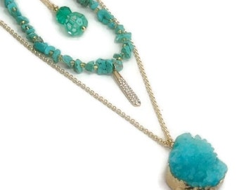 Layer Necklace, Druzy, Layering, Boho Chic, Turquoise Layered Necklace, Multistrand, Multi, Stacking Necklace, Layer, Drusy, Set of Three