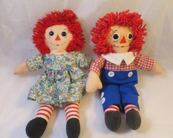 Raggedy Ann Andy Dolls Hasbro Softies Playskool 12 inch Ann Doll Blue Flower Dress Andy Button Eyes I Love You Hearts Johnny Gruelle