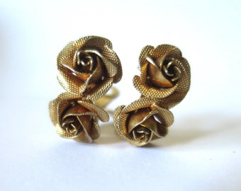 Vintage Gold Rose Earrings Signed Lewis Segal California Double Gold Textured Metal Roses Posts Lewis Segal Stud Earrings Clip Back