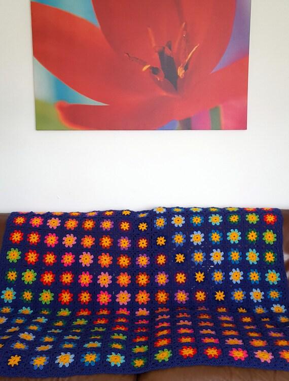 Retro Crochet Lobelia Granny Squares BLANKET Afghan