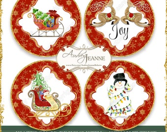 Watercolor Christmas Santa Sleigh Reindeer Snowman Coaster size 3.75 inch circle, 3 in, 2.25 inch pocket mirror size, Digital Collage Sheet