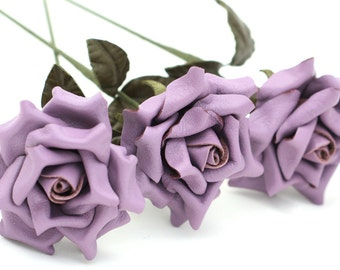 Lavender purple leather rose bouquet third Anniversary wedding gift Long Stem leather Flower Valentines 3rd Leather Anniversary