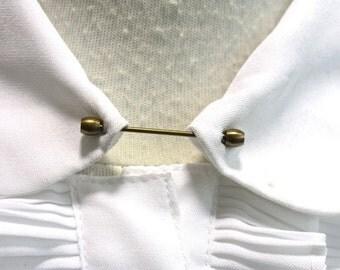1930s Collar Pin // 30s 40s Vintage NOS Collar Stay // Art Deco // Antique Edwardian Victorian // Brass Collar Clip