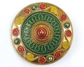 Byzantine Style Brooch //1960's 1970's // Middle Eastern Style //New Old Stock