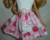 """Handmade 9"""" little sister fashion doll clothes - pink and white kitty dress"""
