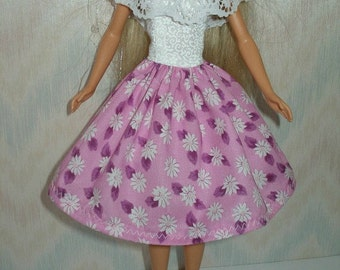 Handmade Barbie clothes - pink and white daisy dress