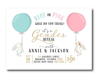 Gender Reveal Invitation.  Gender Reveal Party,  Baby Reveal, Pink or Blue? Rabbits, Bunny, Gender Reveal Invite, 0601