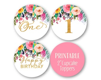 First Birthday Cupcake Toppers,  1st Birthday Decor, Glitter and Floral Happy Birthday, Printable - 1502