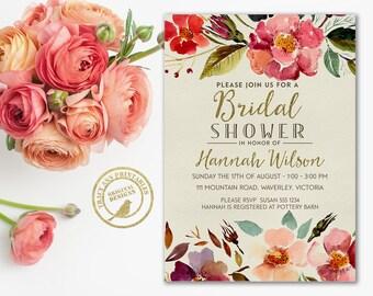 Vintage Bridal Shower Invitation  | Floral Wedding Shower invite | Printable Wedding Shower Invite | Printable | Invitation 2530
