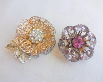 Vintage LoT of 2 RHINESTONE FLOWER Brooch Pins