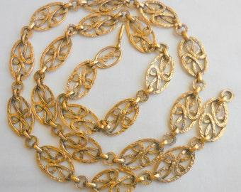 Vintage Goldtone YSL YVES SAINT LaURENT Necklace Hammered Goldtone Links