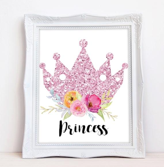 Princess Crown Print, Nursery Print, Baby Print, Instant Download, 8 x 10 Digital Print, Crown Print, Nursery Wall Decor, Princess Baby