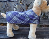 Purple Grey and White Plaid Dog Coat- Size XX Small - 8 to 10 Inch Back Length