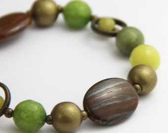 Woodland Stone Stretch Bracelet - Earthy Brown Lime Citron Olive Green Antique Gold Beaded Stone Big Chunky Chic Neutral