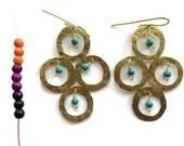 Rustic Metal circle chandelier earrings, beaded metal chandelier earrings
