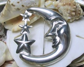 Taxco Sterling Silver Moon and Stars Brooch Pin 21.4 grams