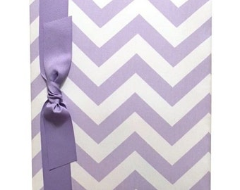Tight Bound Baby Memory Book - Lavender and White Chevron Stripe