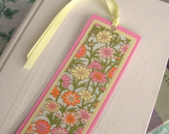 Laminated Bookmark With Pink Yellow and Orange Floral Japanese Washi