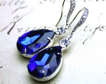 Sapphire Blue Vintage Jeweled Earrings - Something Blue Bridal Earrings - Sterling Silver And CZ Earwires With Royal Blue And Clear Jewels